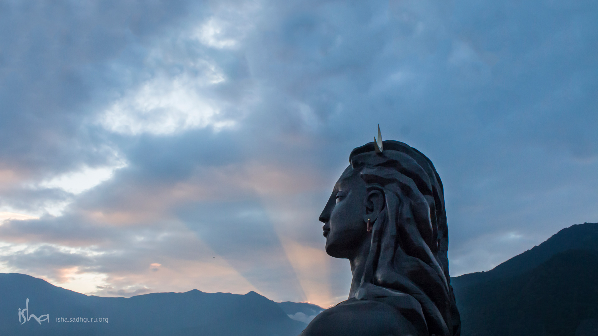 Shiva Wallpapers  - The Adiyogi with setting Sun